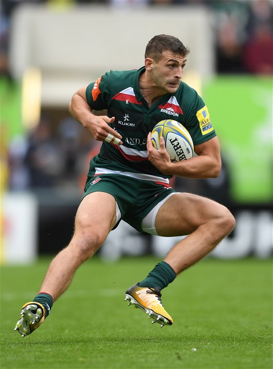 LEICESTER, ENGLAND - SEPTEMBER 03:  Jonny May of Leicester Tigers in action during the Aviva Premiership match between Leicester Tigers and Bath Rugby at Welford Road on September 3, 2017 in Leicester, England.  (Photo by Laurence Griffiths/Getty Images)