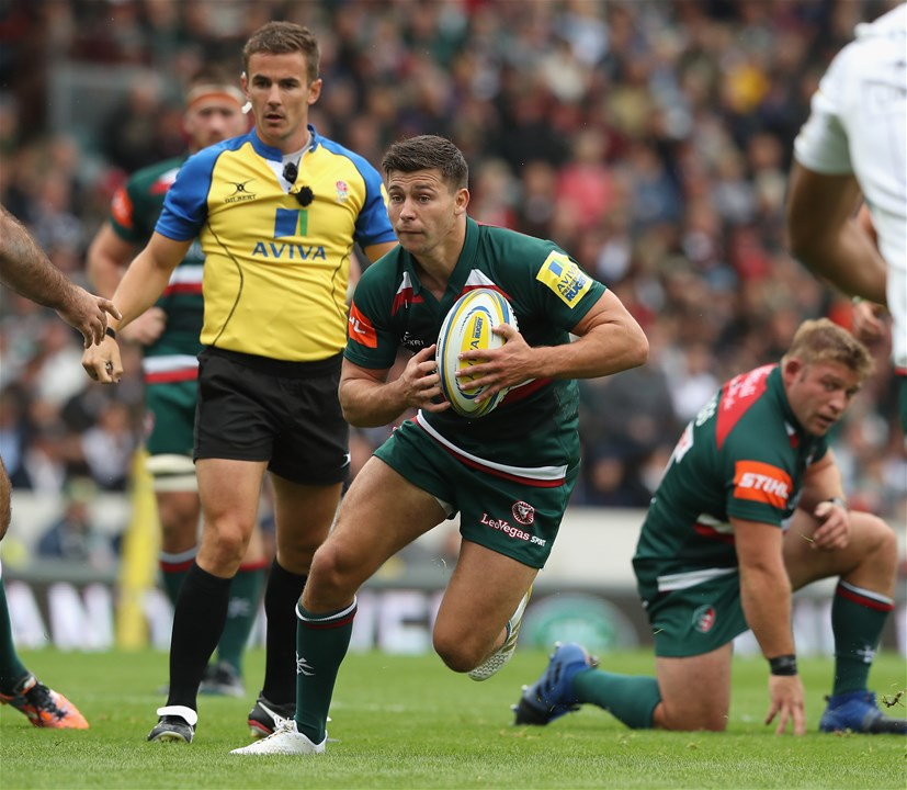 LEICESTER, ENGLAND - SEPTEMBER 03:  Ben Youngs of Leicester runs with the ball during the Aviva Premiership match between Leicester Tigers and Bath Rugby at Welford Road on September 3, 2017 in Leicester, England.  (Photo by David Rogers/Getty Images)
