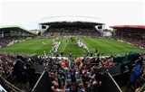 LEICESTER, ENGLAND - SEPTEMBER 03:  Leicester Tigers run onto the pitch during the Aviva Premiership match between Leicester Tigers and Bath Rugby at Welford Road on September 3, 2017 in Leicester, England.  (Photo by David Rogers/Getty Images)