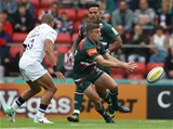 LEICESTER, ENGLAND - SEPTEMBER 03:  George Ford of Leicester passes the ball during the Aviva Premiership match between Leicester Tigers and Bath Rugby at Welford Road on September 3, 2017 in Leicester, England.  (Photo by David Rogers/Getty Images)