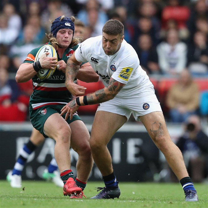 LEICESTER, ENGLAND - SEPTEMBER 03:  Harry Thacker of Leicester is tackled by Matt Banahan during the Aviva Premiership match between Leicester Tigers and Bath Rugby at Welford Road on September 3, 2017 in Leicester, England.  (Photo by David Rogers/Getty Images)