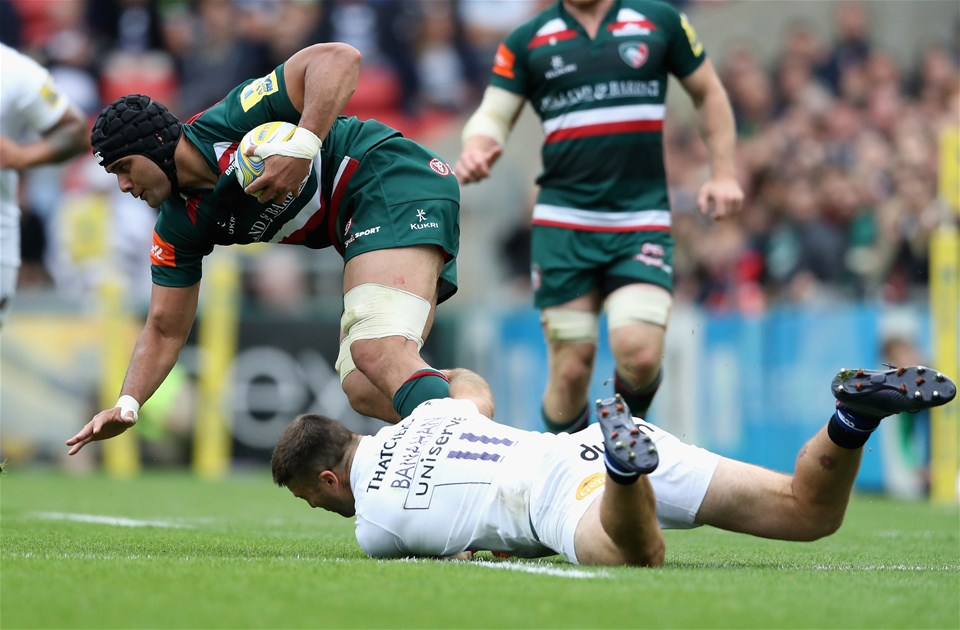 LEICESTER, ENGLAND - SEPTEMBER 03:  Sione Kalamafoni of Leicester Tigers is tackled by Matt Banahan during the Aviva Premiership match between Leicester Tigers and Bath Rugby at Welford Road on September 3, 2017 in Leicester, England.  (Photo by David Rogers/Getty Images)