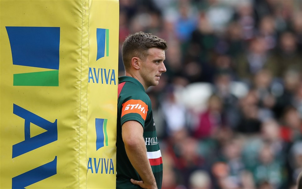 LEICESTER, ENGLAND - SEPTEMBER 03:  George Ford of Leicester looks on during the Aviva Premiership match between Leicester Tigers and Bath Rugby at Welford Road on September 3, 2017 in Leicester, England.  (Photo by David Rogers/Getty Images)