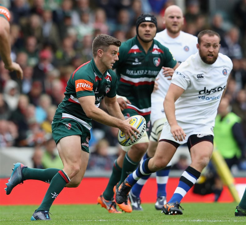 LEICESTER, ENGLAND - SEPTEMBER 03:  George Ford of Leicester runs with the ball during the Aviva Premiership match between Leicester Tigers and Bath Rugby at Welford Road on September 3, 2017 in Leicester, England.  (Photo by David Rogers/Getty Images)
