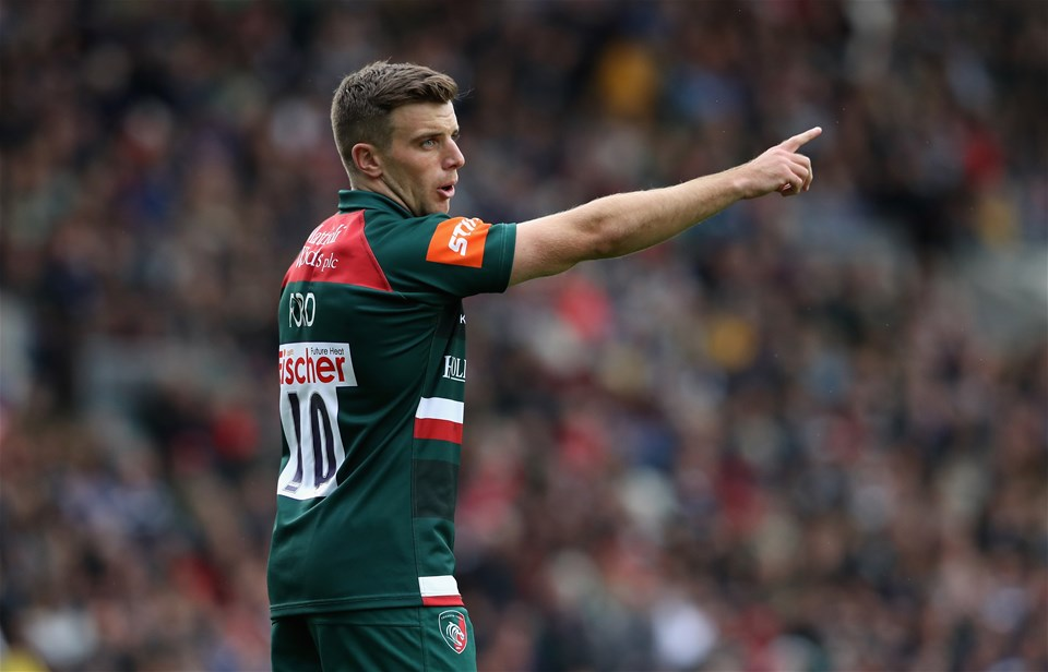 LEICESTER, ENGLAND - SEPTEMBER 03:  George Ford of Leicester issues instructions during the Aviva Premiership match between Leicester Tigers and Bath Rugby at Welford Road on September 3, 2017 in Leicester, England.  (Photo by David Rogers/Getty Images)