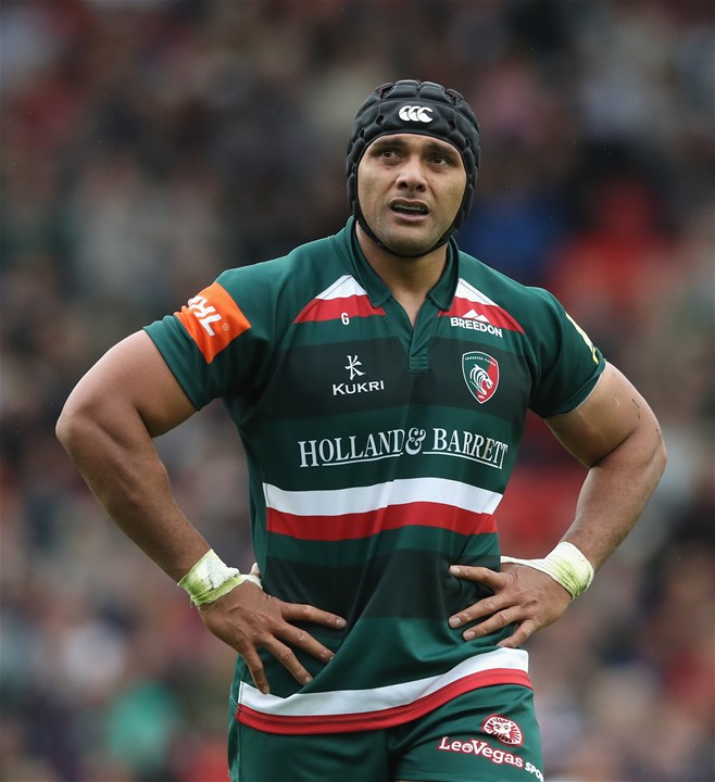 LEICESTER, ENGLAND - SEPTEMBER 03:  Sione Kalamafoni of Leicester Tigers looks on during the Aviva Premiership match between Leicester Tigers and Bath Rugby at Welford Road on September 3, 2017 in Leicester, England.  (Photo by David Rogers/Getty Images)