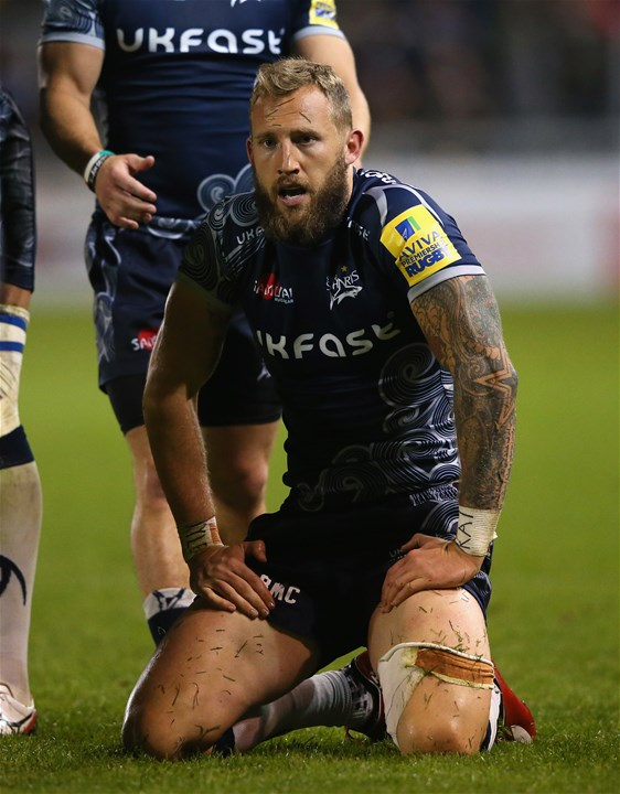 SALFORD, ENGLAND - SEPTEMBER 08:  Byron McGuigan of Sale Sharks looks on during the Aviva Premiership match between Sale Sharks and Newcastle Falcons at AJ Bell Stadium on September 8, 2017 in Salford, England.  (Photo by Alex Livesey/Getty Images)