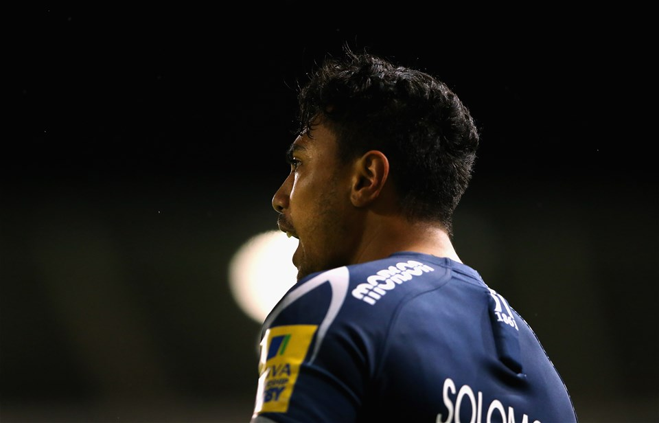 SALFORD, ENGLAND - SEPTEMBER 08:  Denny Solomona of Sale Sharks looks on during the Aviva Premiership match between Sale Sharks and Newcastle Falcons at AJ Bell Stadium on September 8, 2017 in Salford, England.  (Photo by Alex Livesey/Getty Images)