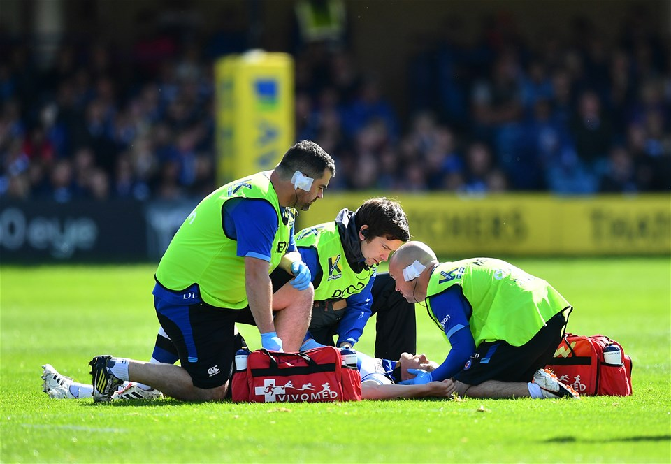 BATH, ENGLAND - SEPTEMBER 09:  Chris Cook of Bath receives medical treatment during the Aviva Premiership match between Bath Rugby and Saracens at Recreation Ground on September 9, 2017 in Bath, England. (Photo by Dan Mullan/Getty Images)