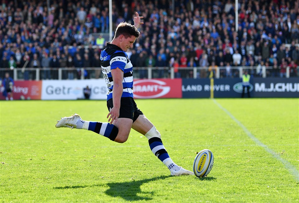 BATH, ENGLAND - SEPTEMBER 09:  Freddie Burns of Bath kicks a conversion during the Aviva Premiership match between Bath Rugby and Saracens at Recreation Ground on September 9, 2017 in Bath, England. (Photo by Dan Mullan/Getty Images)