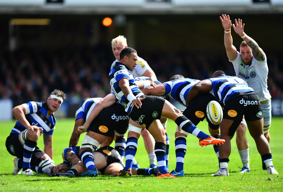BATH, ENGLAND - SEPTEMBER 09:  Kahn Fotualii of Bath box kicks during the Aviva Premiership match between Bath Rugby and Saracens at Recreation Ground on September 9, 2017 in Bath, England. (Photo by Dan Mullan/Getty Images)
