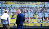 EXETER, ENGLAND - SEPTEMBER 09: General view as fans look at a wall displaying Exeter Chiefs lifting last years Premiership Trophy during the Aviva Premiership match between Exeter Chiefs and London Irish at Sandy Park on September 9, 2017 in Exeter, England. (Photo by Harry Trump/Getty Images)