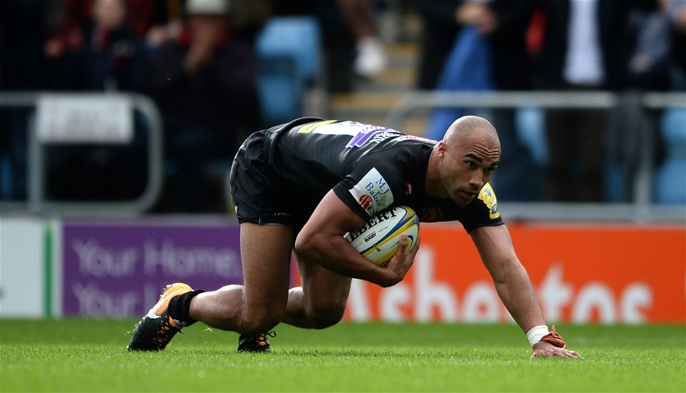 EXETER, ENGLAND - SEPTEMBER 09: Only Woodburn of Exeter Chiefs goes over for a try during the Aviva Premiership match between Exeter Chiefs and London Irish at Sandy Park on September 9, 2017 in Exeter, England. (Photo by Harry Trump/Getty Images)