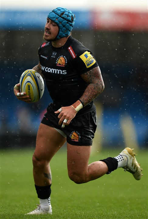 EXETER, ENGLAND - SEPTEMBER 09: Jack Nowell of Exeter Chiefs during the Aviva Premiership match between Exeter Chiefs and London Irish at Sandy Park on September 9, 2017 in Exeter, England. (Photo by Harry Trump/Getty Images)