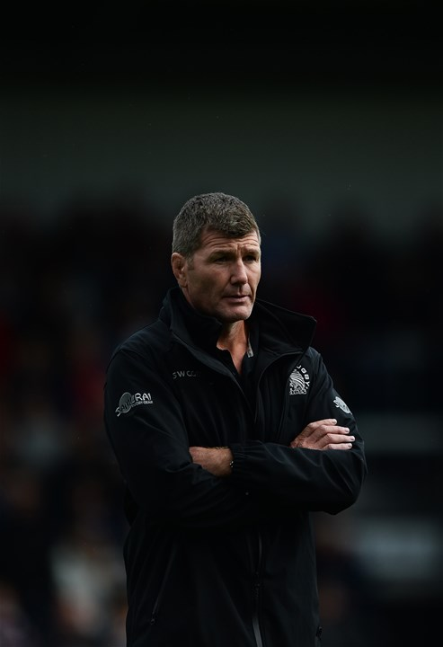 EXETER, ENGLAND - SEPTEMBER 09: Rob Baxter, Head Coach of Exeter Chiefs during the Aviva Premiership match between Exeter Chiefs and London Irish at Sandy Park on September 9, 2017 in Exeter, England. (Photo by Harry Trump/Getty Images)