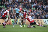 LONDON, ENGLAND - SEPTEMBER 09: Demetri Catrakilis of Harlequins is tackled by Jeremy Thrush of Gloucester Rugby during the Aviva Premiership match between Harlequins and Gloucester Rugby at Twickenham Stoop on September 9, 2017 in London, England.  (Photo by Steve Bardens/Getty Images for Harlequins)
