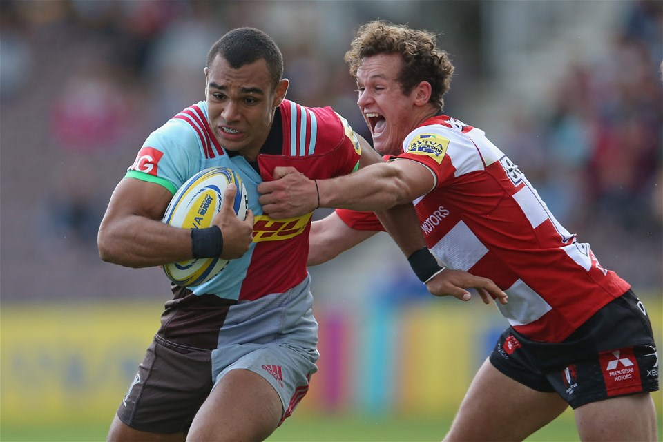 LONDON, ENGLAND - SEPTEMBER 09: Joe Marchant of Harlequins is tackled by Billy Burns of Gloucester Rugby during the Aviva Premiership match between Harlequins and Gloucester Rugby at Twickenham Stoop on September 9, 2017 in London, England.  (Photo by Steve Bardens/Getty Images for Harlequins)