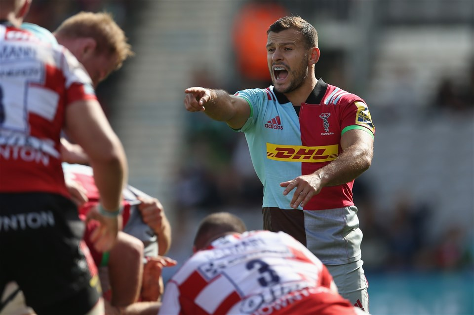 LONDON, ENGLAND - SEPTEMBER 09: Danny Care of Harlequins shouts instructions during the Aviva Premiership match between Harlequins and Gloucester Rugby at Twickenham Stoop on September 9, 2017 in London, England.  (Photo by Steve Bardens/Getty Images for Harlequins)