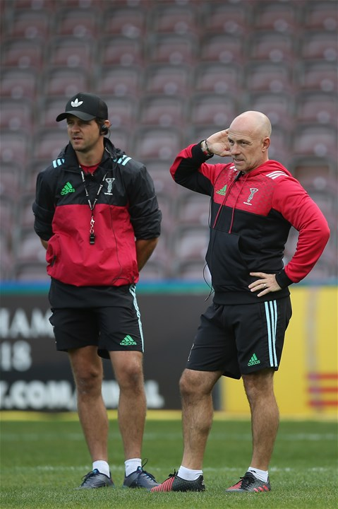 LONDON, ENGLAND - SEPTEMBER 09: Harlequins Head Coach, Mark Mapletoft and Harlequins Attack Coach, Nick Evans look on prior to the Aviva Premiership match between Harlequins and Gloucester Rugby at Twickenham Stoop on September 9, 2017 in London, England.  (Photo by Steve Bardens/Getty Images for Harlequins)