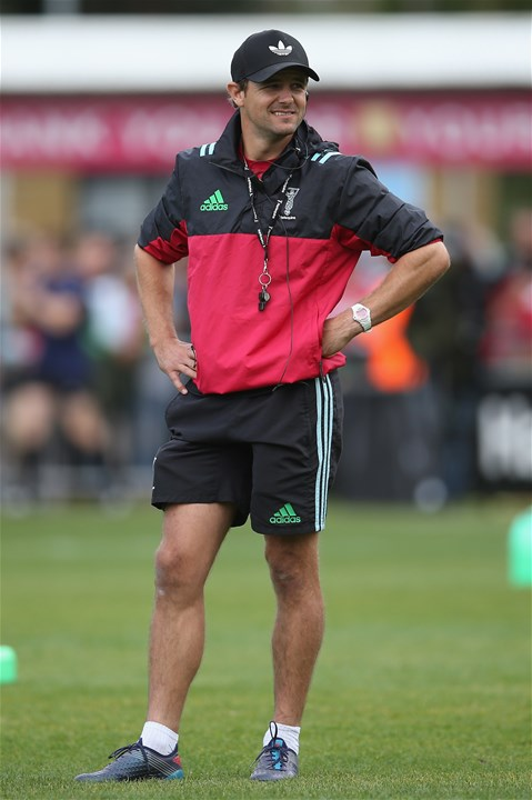 LONDON, ENGLAND - SEPTEMBER 09: Harlequins Attack Coach, Nick Evans looks on prior to the Aviva Premiership match between Harlequins and Gloucester Rugby at Twickenham Stoop on September 9, 2017 in London, England.  (Photo by Steve Bardens/Getty Images for Harlequins)