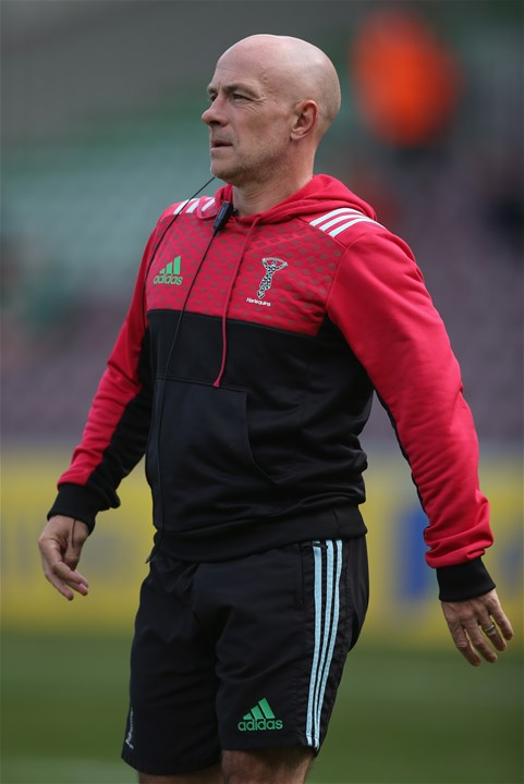 LONDON, ENGLAND - SEPTEMBER 09: Harlequins Head Coach Mark Mapletoft looks on prior to the Aviva Premiership match between Harlequins and Gloucester Rugby at Twickenham Stoop on September 9, 2017 in London, England.  (Photo by Steve Bardens/Getty Images for Harlequins)