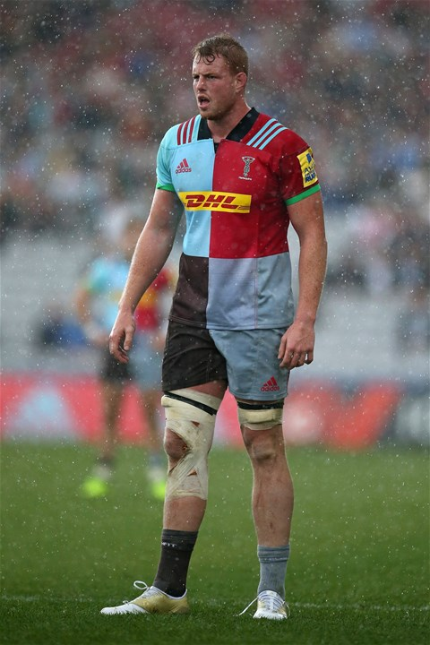 LONDON, ENGLAND - SEPTEMBER 09: George Merrick of Harlequins during the Aviva Premiership match between Harlequins and Gloucester Rugby at Twickenham Stoop on September 9, 2017 in London, England.  (Photo by Steve Bardens/Getty Images for Harlequins)