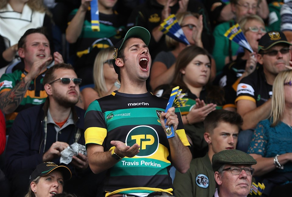 NORTHAMPTON, ENGLAND - SEPTEMBER 09:  A Northampton Saints fan shouts during the Aviva Premiership match between Northampton Saints and Leicester Tigers at Franklin's Gardens on September 9, 2017 in Northampton, England.  (Photo by David Rogers/Getty Images)