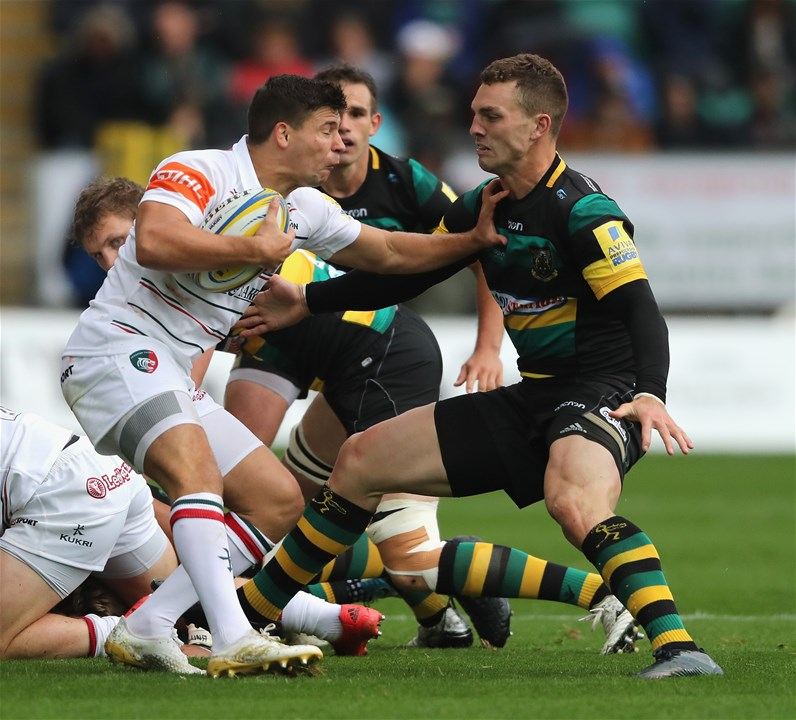 NORTHAMPTON, ENGLAND - SEPTEMBER 09:  Ben Youngs of Leicester is tackled by George North during the Aviva Premiership match between Northampton Saints and Leicester Tigers at Franklin's Gardens on September 9, 2017 in Northampton, England.  (Photo by David Rogers/Getty Images)