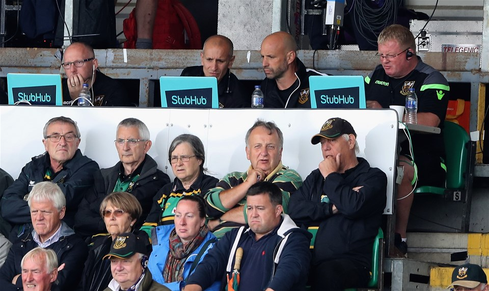 NORTHAMPTON, ENGLAND - SEPTEMBER 09:  (R-L) The Northampton Saints management team of Dorian West, forwards coach, director of rugby Jim Mallinder and attack caoch Alan Dickens look on during the Aviva Premiership match between Northampton Saints and Leicester Tigers at Franklin's Gardens on September 9, 2017 in Northampton, England.  (Photo by David Rogers/Getty Images)
