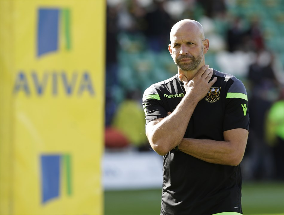 NORTHAMPTON, ENGLAND - SEPTEMBER 09: Jim Mallinder of Northampton Saints during the Aviva Premiership match between Northampton Saints and Leicester Tigers at Franklin's Gardens on September 9, 2017 in Northampton, England. (Photo by Henry Browne/Getty Images)