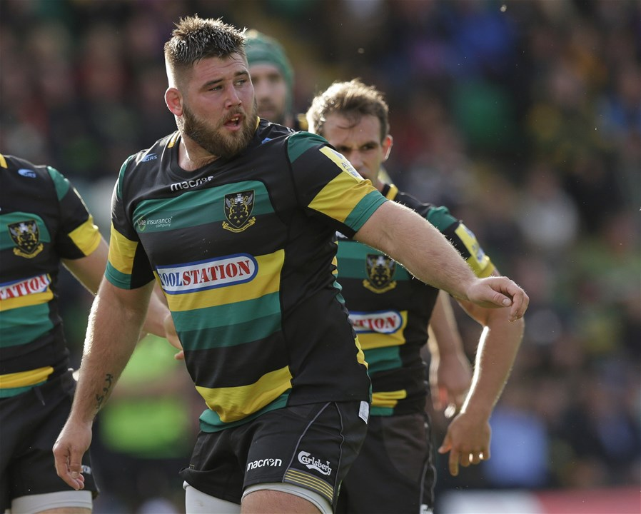 NORTHAMPTON, ENGLAND - SEPTEMBER 09: Kieran Brookes of Northampton Saintsduring the Aviva Premiership match between Northampton Saints and Leicester Tigers at Franklin's Gardens on September 9, 2017 in Northampton, England. (Photo by Henry Browne/Getty Images)