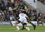 NORTHAMPTON, ENGLAND - SEPTEMBER 09: Luther Burrell of Northampton Saints and Jonny May of Leicester Tigers during the Aviva Premiership match between Northampton Saints and Leicester Tigers at Franklin's Gardens on September 9, 2017 in Northampton, England. (Photo by Henry Browne/Getty Images)