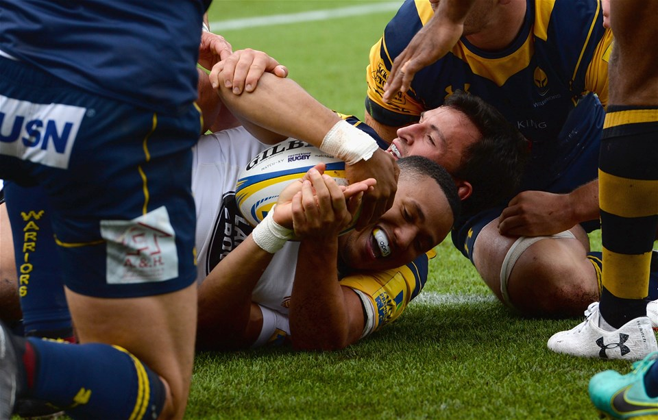 WORCESTER, ENGLAND - SEPTEMBER 10:  Marcus Watson of Wasps celebrates scoring a try during the Aviva Premiership match between Worcester Warriors and Wasps at Sixways Stadium on September 10, 2017 in Worcester, England.  (Photo by Tony Marshall/Getty Images)