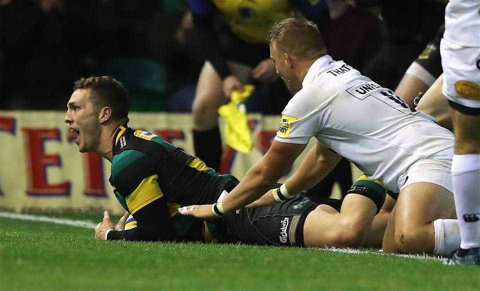 NORTHAMPTON, ENGLAND - SEPTEMBER 15:  George North of Northampton dives over for their fourth try  during the Aviva Premiership match between Northampton Saints and Bath Rugby at Franklin's Gardens on September 15, 2017 in Northampton, England.  (Photo by David Rogers/Getty Images)