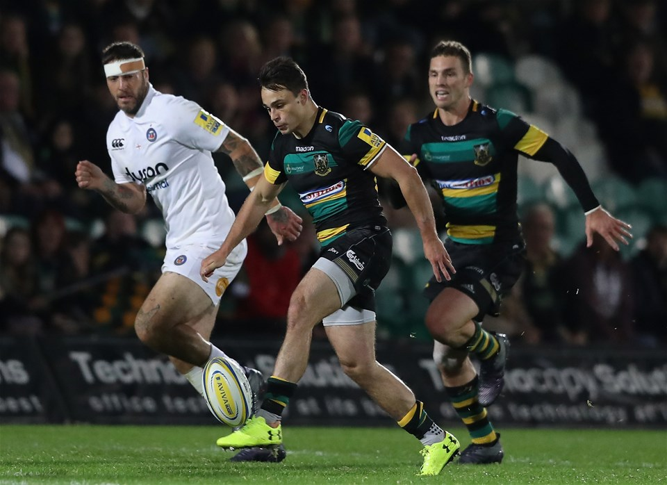 NORTHAMPTON, ENGLAND - SEPTEMBER 15:  Tom Collins of Northampton kicks the ball upfield during the Aviva Premiership match between Northampton Saints and Bath Rugby at Franklin's Gardens on September 15, 2017 in Northampton, England.  (Photo by David Rogers/Getty Images)