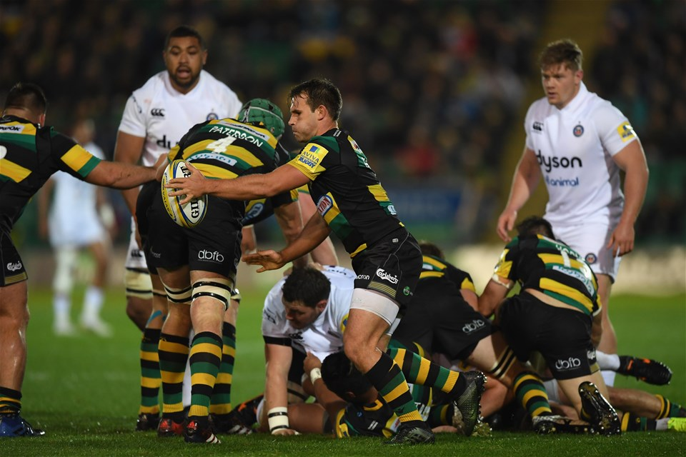 NORTHAMPTON, ENGLAND - SEPTEMBER 15:  Nic Groom of Northampton Saints clears the ball from the scrum during the Aviva Premiership match between Northampton Saints and Bath Rugby at Franklin's Gardens on September 15, 2017 in Northampton, England.  (Photo by Shaun Botterill/Getty Images)