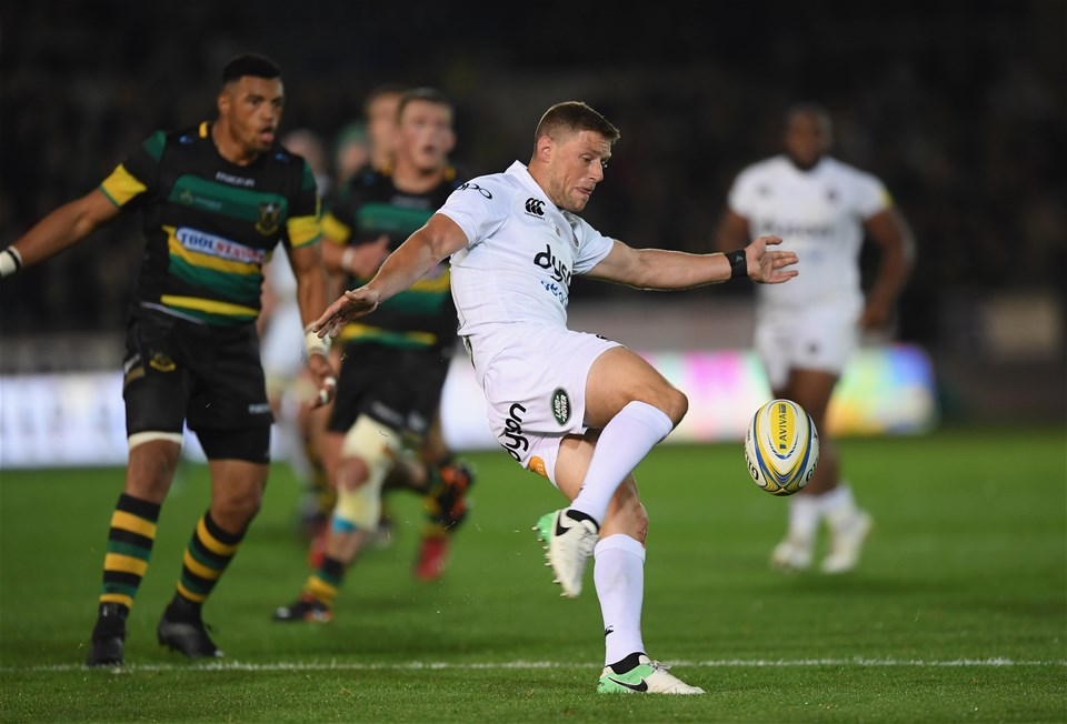 NORTHAMPTON, ENGLAND - SEPTEMBER 15:  Rhys Priestland of Bath Rugby clears the ball during the Aviva Premiership match between Northampton Saints and Bath Rugby at Franklin's Gardens on September 15, 2017 in Northampton, England.  (Photo by Shaun Botterill/Getty Images)