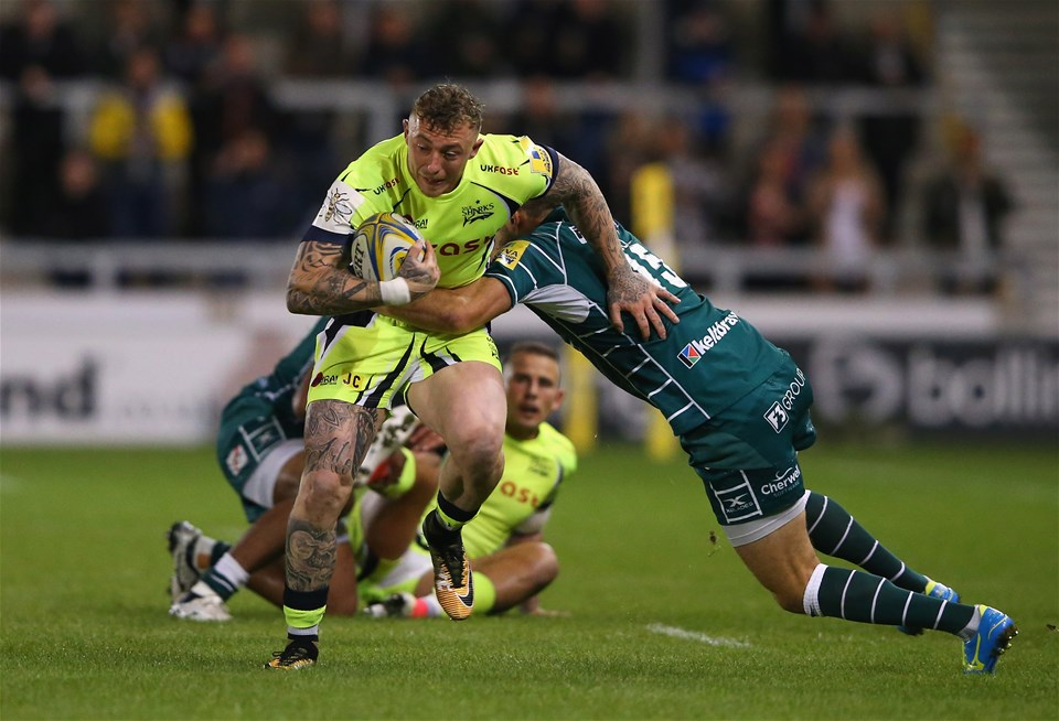 SALFORD, ENGLAND - SEPTEMBER 15:  Josh Charnley of Sale Sharks is tackled by Tommy Bell of London Irish during the Aviva Premiership match between Sale Sharks and London Irish at AJ Bell Stadium on September 15, 2017 in Salford, England.  (Photo by Alex Livesey/Getty Images)