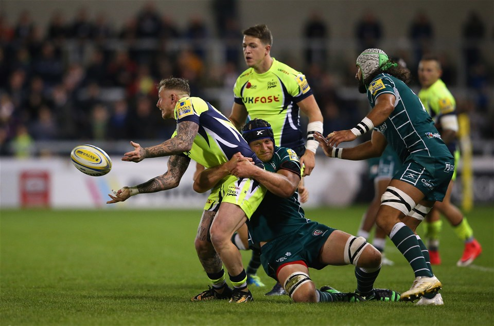 SALFORD, ENGLAND - SEPTEMBER 15:  Josh Charnley of Sale Sharks is tackled by Franco Van der Merwe of London Irish during the Aviva Premiership match between Sale Sharks and London Irish at AJ Bell Stadium on September 15, 2017 in Salford, England.  (Photo by Alex Livesey/Getty Images)