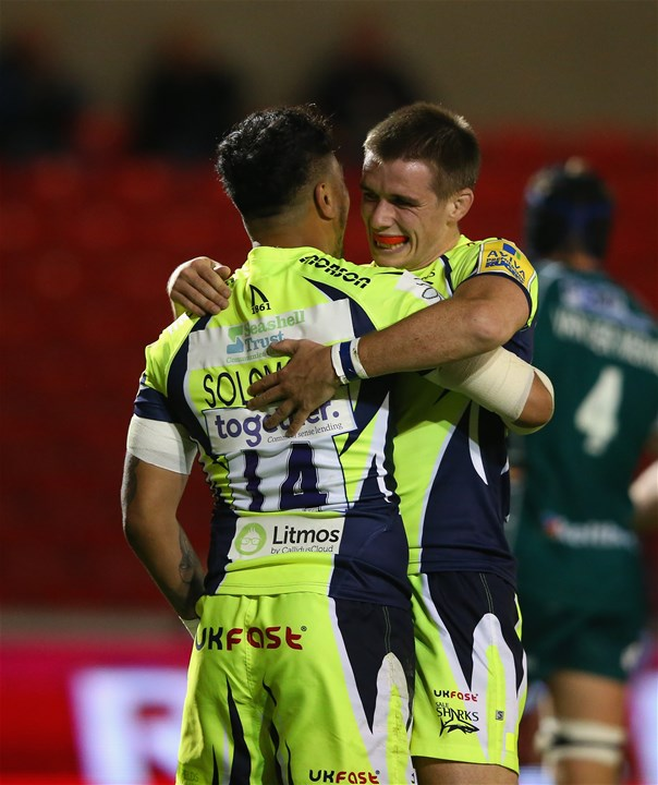 SALFORD, ENGLAND - SEPTEMBER 15:  Denny Solomona of Sale Sharks celebrates scoring his first try with AJ MacGinty during the Aviva Premiership match between Sale Sharks and London Irish at AJ Bell Stadium on September 15, 2017 in Salford, England.  (Photo by Alex Livesey/Getty Images)
