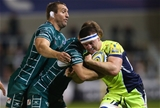 SALFORD, ENGLAND - SEPTEMBER 15:  Ben Curry of Sale Sharks is tackled by Mike Coman of London Irish during the Aviva Premiership match between Sale Sharks and London Irish at AJ Bell Stadium on September 15, 2017 in Salford, England.  (Photo by Alex Livesey/Getty Images)