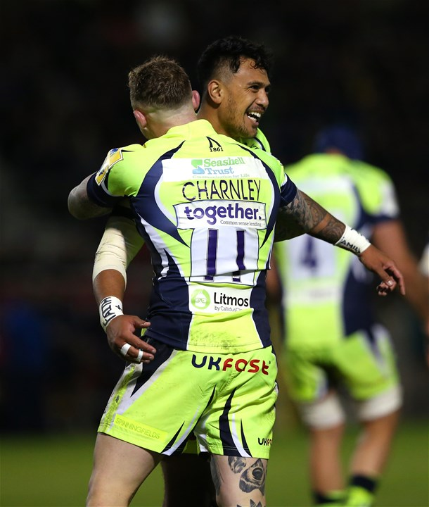 SALFORD, ENGLAND - SEPTEMBER 15:  Josh Charnley of Sale Sharks celebrates scoring his try with Denny Solomona during the Aviva Premiership match between Sale Sharks and London Irish at AJ Bell Stadium on September 15, 2017 in Salford, England.  (Photo by Alex Livesey/Getty Images)