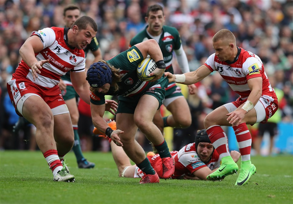 LEICESTER, ENGLAND - SEPTEMBER 16:  Harry Thacker of Leicester is tackled during the Aviva Premiership match between Leicester Tigers and Gloucester Rugby at Welford Road on September 16, 2017 in Leicester, England.  (Photo by David Rogers/Getty Images)