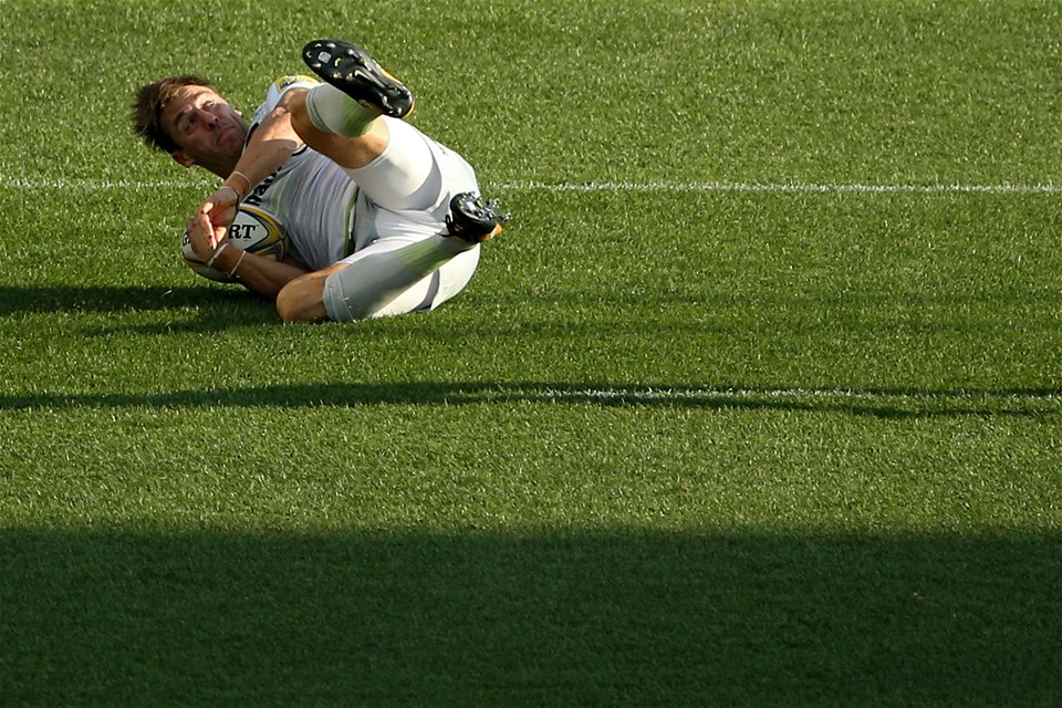 CHESTER, PA - SEPTEMBER 16: Chris Wyles #11 of the Saracens scores a try against the Newcastle Falcons during a Aviva Premiership match between the Newcastle Falcons and the Saracens at Talen Energy Stadium on September 16, 2017 in Chester, Pennsylvania. (Photo by Patrick Smith/Getty Images)