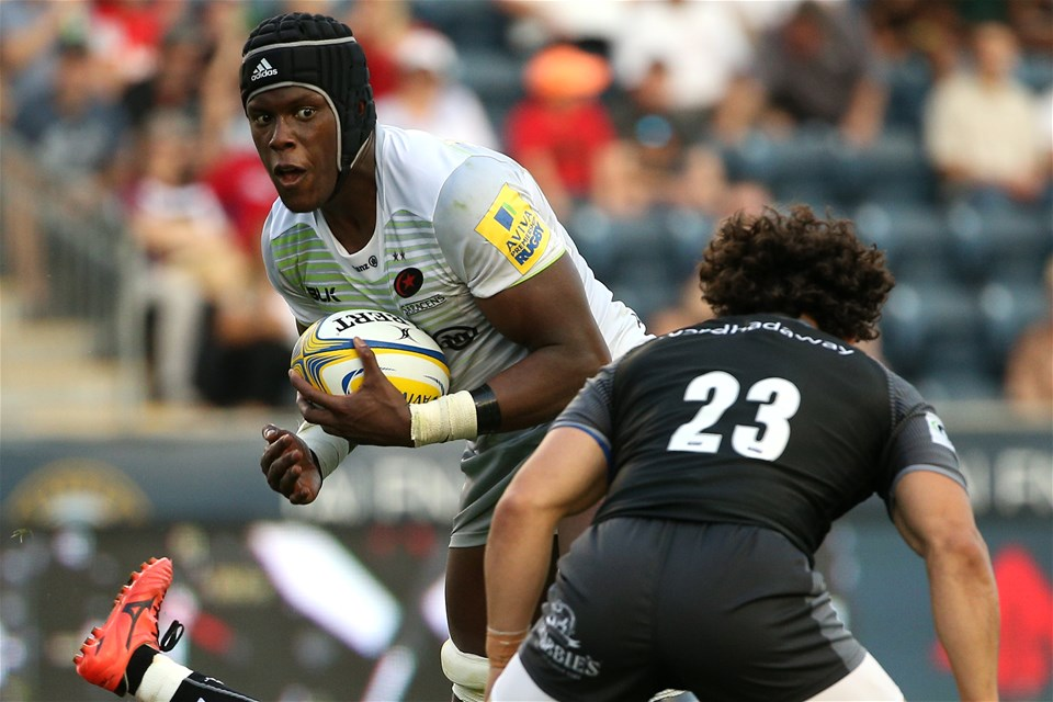 CHESTER, PA - SEPTEMBER 16: Mario Itoje #4 of the Saracens runs with the ball against the Newcastle Falcons during a Aviva Premiership match between the Newcastle Falcons and the Saracens at Talen Energy Stadium on September 16, 2017 in Chester, Pennsylvania. (Photo by Patrick Smith/Getty Images)