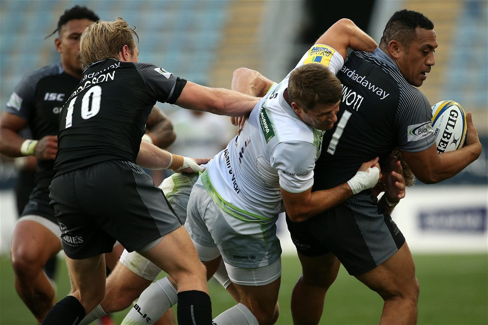 CHESTER, PA - SEPTEMBER 16: Vereniki Goneva #11 of the Newcastle Falcons is tackled by Richard Wigglesworth #21 of the Saracens during a Aviva Premiership match between the Newcastle Falcons and the Saracens at Talen Energy Stadium on September 16, 2017 in Chester, Pennsylvania. (Photo by Patrick Smith/Getty Images)