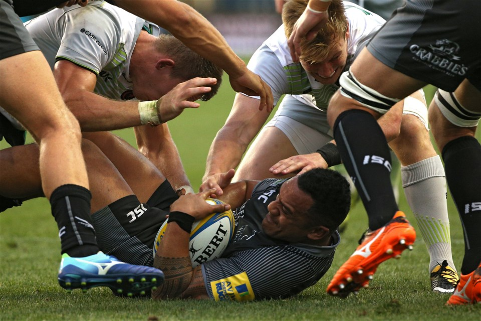 CHESTER, PA - SEPTEMBER 16: Vereniki Goneva #11 of the Newcastle Falcons is tackled by Saracens players during a Aviva Premiership match between the Newcastle Falcons and the Saracens at Talen Energy Stadium on September 16, 2017 in Chester, Pennsylvania. (Photo by Patrick Smith/Getty Images)