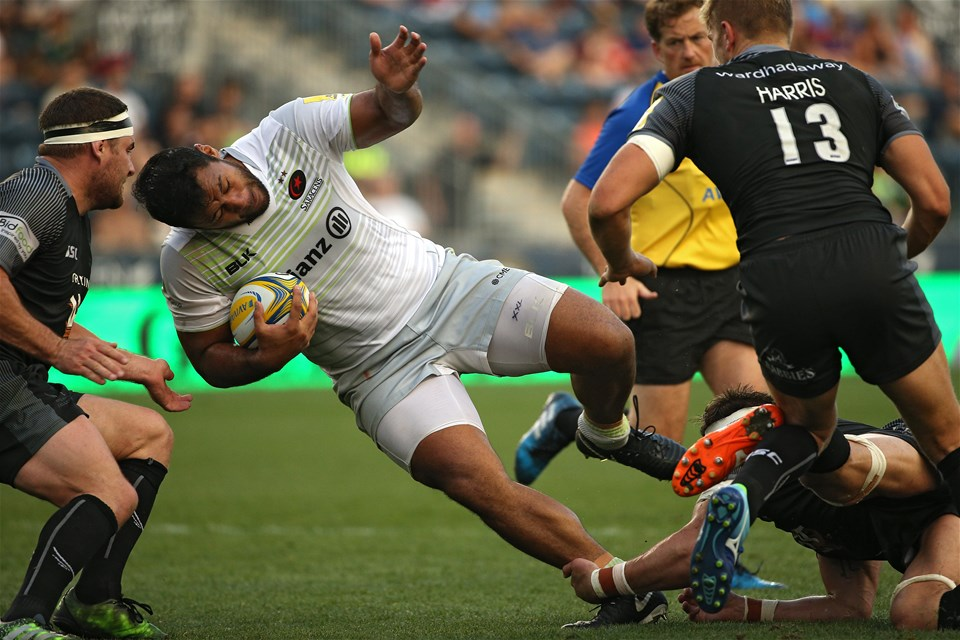 CHESTER, PA - SEPTEMBER 16: Billy Vunipola #8 of the Saracens is tackled by Newcastle Falcons players during a Aviva Premiership match between the Newcastle Falcons and the Saracens at Talen Energy Stadium on September 16, 2017 in Chester, Pennsylvania. (Photo by Patrick Smith/Getty Images)