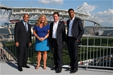 CHESTER, PA - SEPTEMBER 16: (L-R) Chairman of Newcastle Falcons Semore Kurdi, Executive Director of the Friends of the British Council Erin Sullivan, Chief Executive of Premiership Mark McCafferty, and interim Chief Executive of Saracens Mitesh Velani pose for a portrait before a Aviva Premiership match between the Newcastle Falcons and the Saracens at Talen Energy Stadium on September 16, 2017 in Chester, Pennsylvania. (Photo by Patrick Smith/Getty Images)