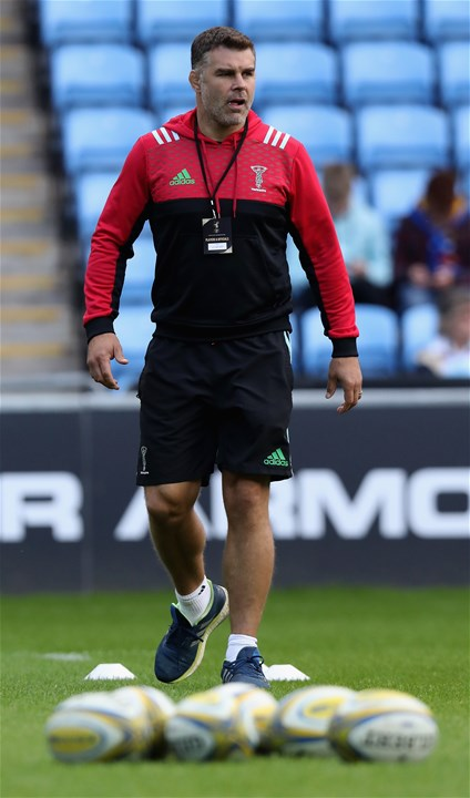 COVENTRY, ENGLAND - SEPTEMBER 17:  Nick Easter, the Harlequins defence coach looks on during the Aviva Premiership match between Wasps and Harlequins at The Ricoh Arena on September 17, 2017 in Coventry, England.  (Photo by David Rogers/Getty Images)